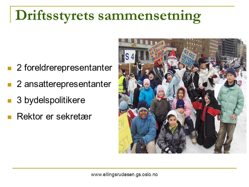 www.ellingsrudasen.gs.oslo.no Driftsstyrets sammensetning 2 foreldrerepresentanter 2 ansatterepresentanter 3 bydelspolitikere Rektor er sekretær