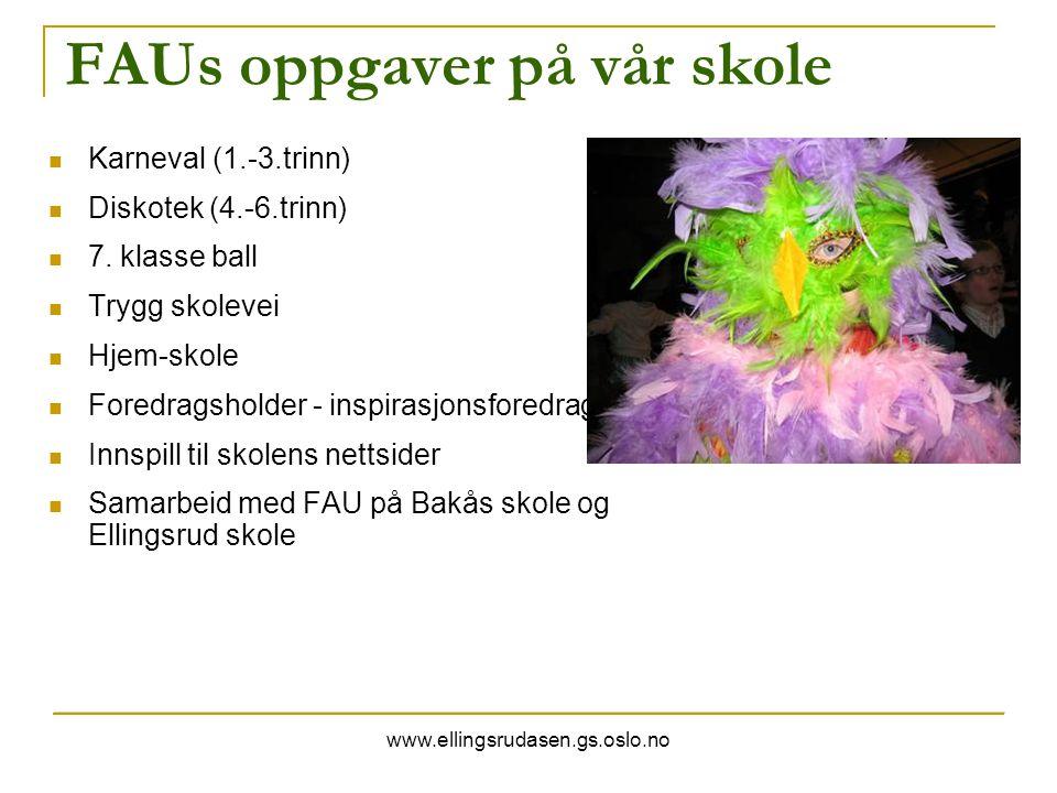 www.ellingsrudasen.gs.oslo.no FAUs oppgaver på vår skole Karneval (1.-3.trinn) Diskotek (4.-6.trinn) 7. klasse ball Trygg skolevei Hjem-skole Foredrag