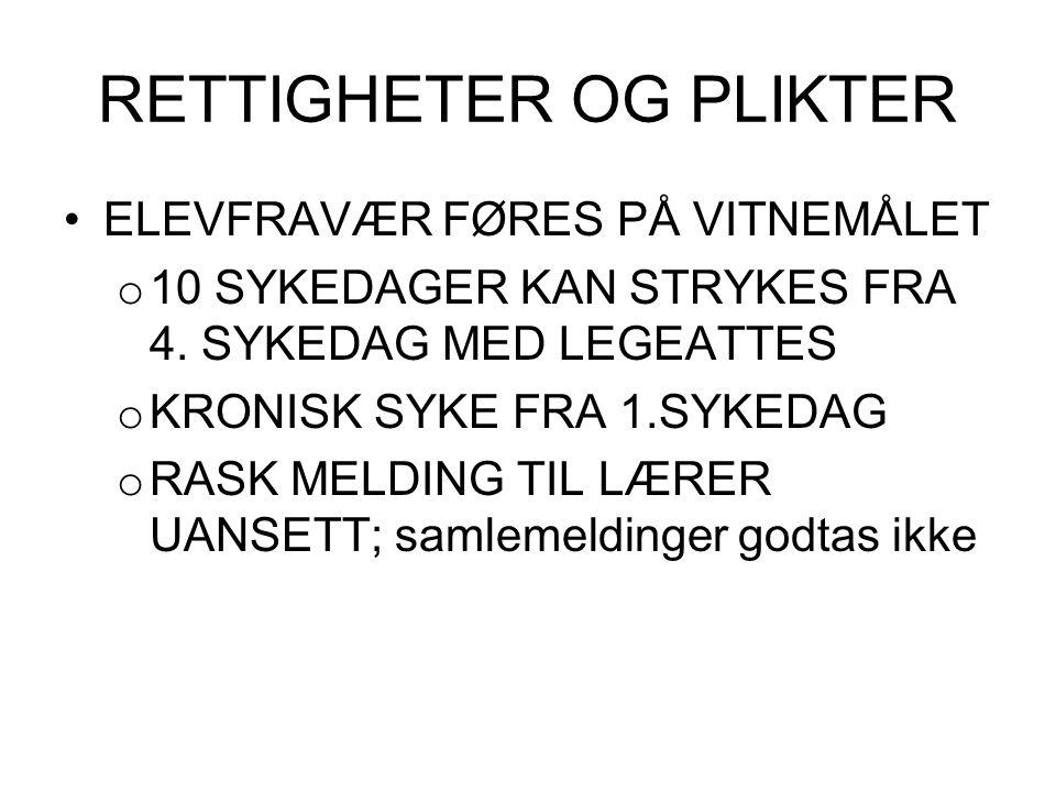 RETTIGHETER OG PLIKTER ELEVFRAVÆR FØRES PÅ VITNEMÅLET o 10 SYKEDAGER KAN STRYKES FRA 4. SYKEDAG MED LEGEATTES o KRONISK SYKE FRA 1.SYKEDAG o RASK MELD
