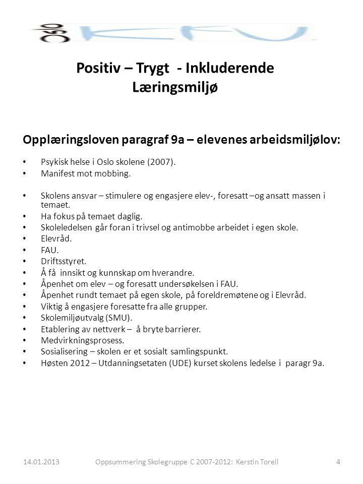 Opplæringsloven paragraf 9a – elevenes arbeidsmiljølov: Psykisk helse i Oslo skolene (2007). Manifest mot mobbing. Skolens ansvar – stimulere og engas