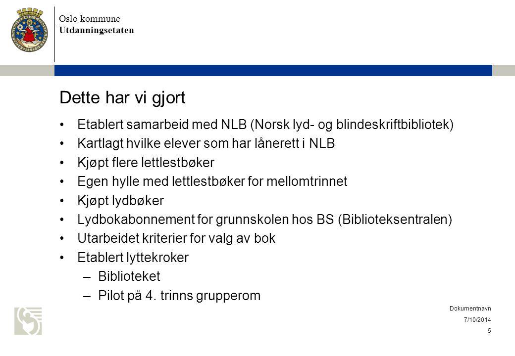 Oslo kommune Utdanningsetaten Dette har vi gjort Etablert samarbeid med NLB (Norsk lyd- og blindeskriftbibliotek) Kartlagt hvilke elever som har låner