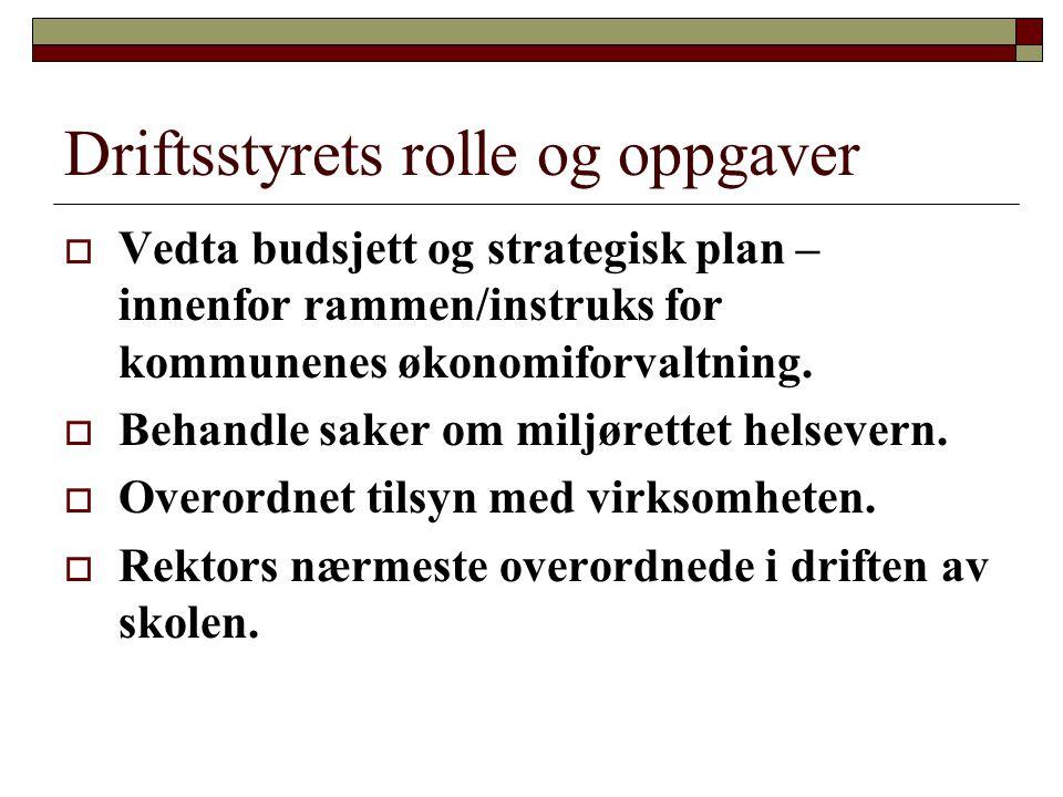 Driftsstyrets rolle og oppgaver  Vedta budsjett og strategisk plan – innenfor rammen/instruks for kommunenes økonomiforvaltning.  Behandle saker om