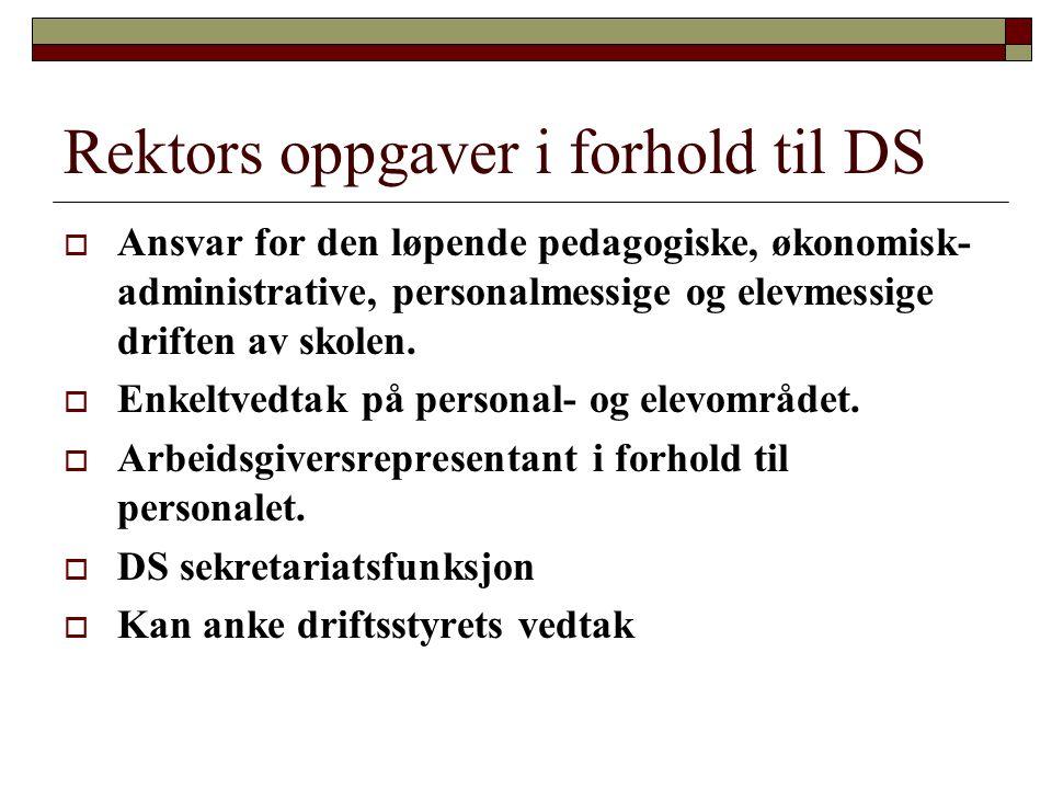 Rektors oppgaver i forhold til DS  Ansvar for den løpende pedagogiske, økonomisk- administrative, personalmessige og elevmessige driften av skolen.