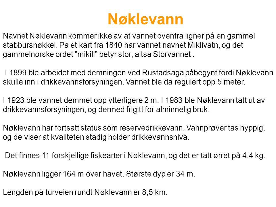 Nøklevann Navnet Nøklevann kommer ikke av at vannet ovenfra ligner på en gammel stabbursnøkkel. På et kart fra 1840 har vannet navnet Miklivatn, og de