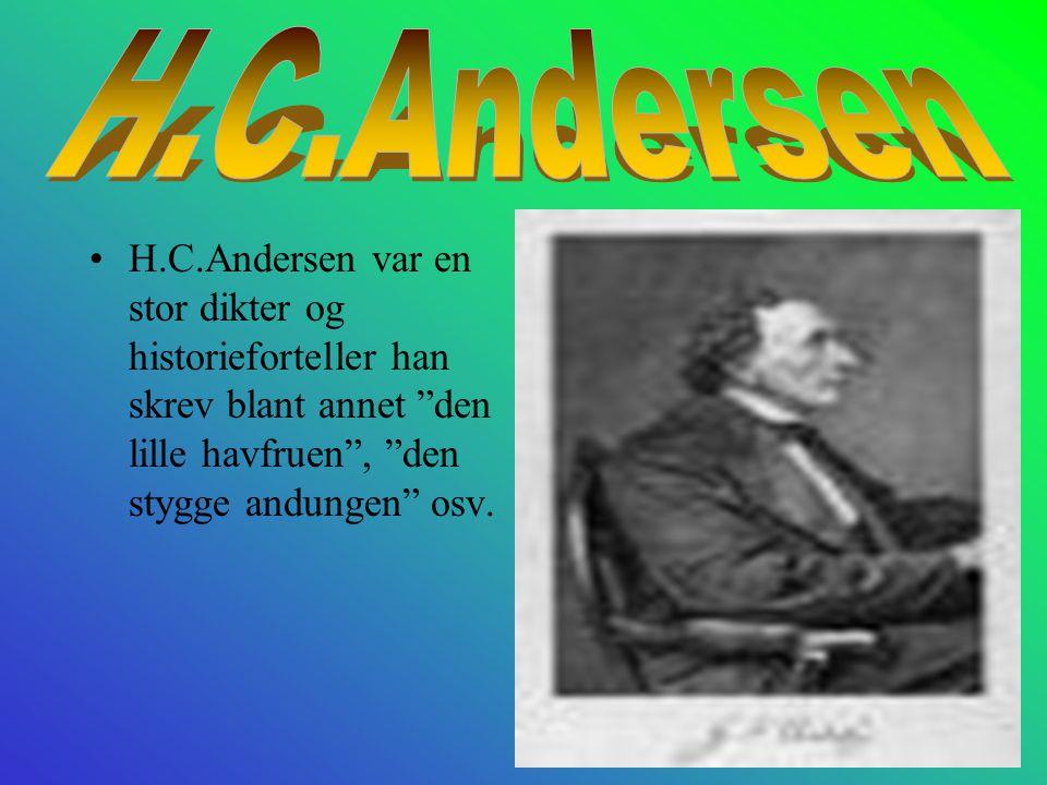 H.C.Andersen var en stor dikter og historieforteller han skrev blant annet den lille havfruen , den stygge andungen osv.