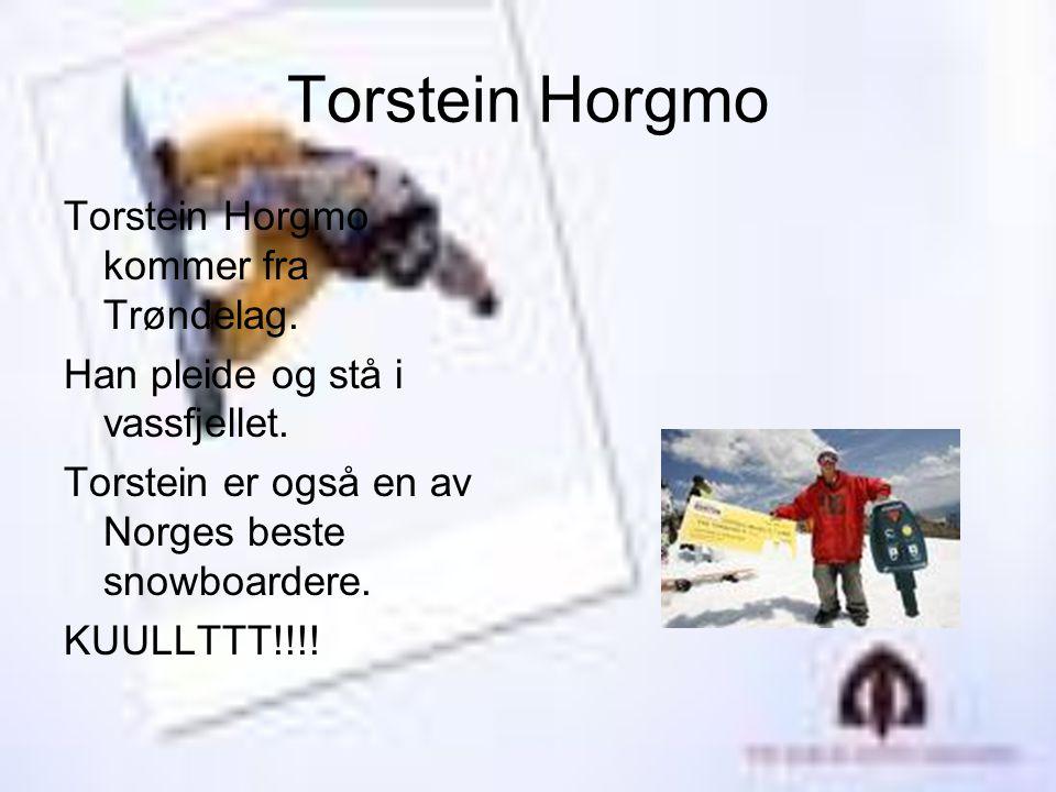 Torstein Horgmo Torstein Horgmo kommer fra Trøndelag. Han pleide og stå i vassfjellet. Torstein er også en av Norges beste snowboardere. KUULLTTT!!!!