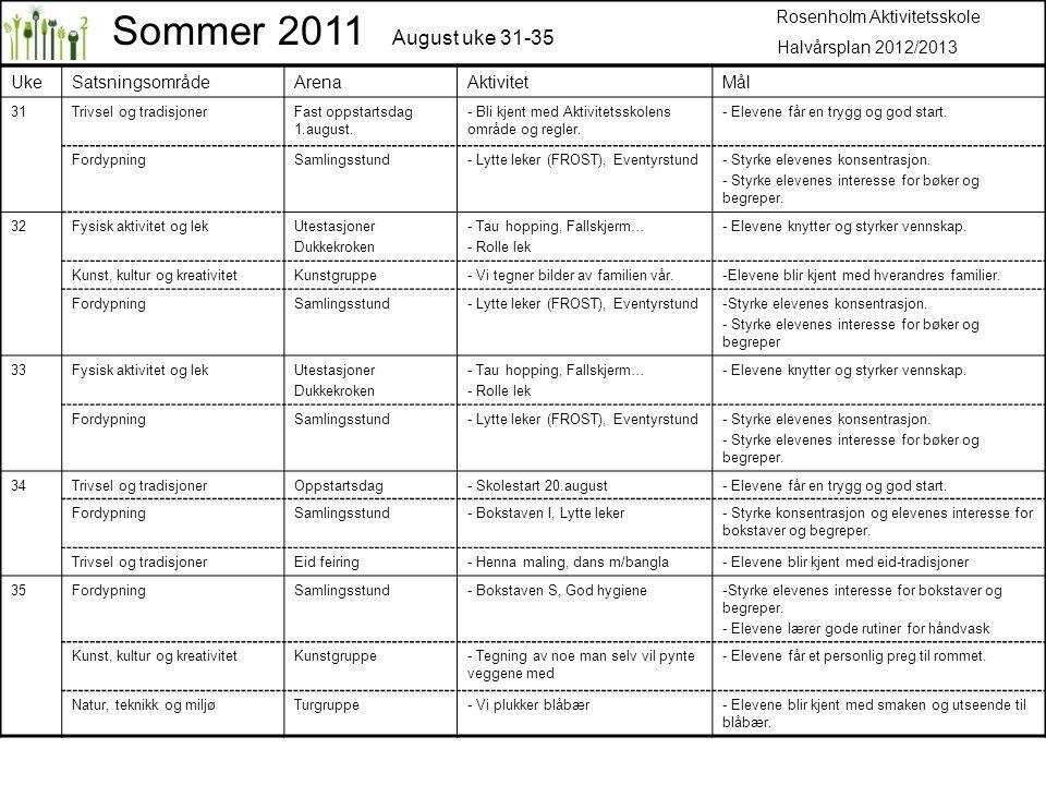 UkeSatsningsområdeArenaAktivitetMål 31Trivsel og tradisjonerFast oppstartsdag 1.august.