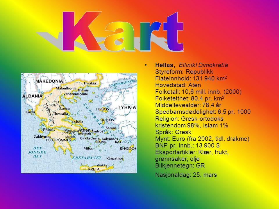 Hellas, Ellinikí Dimokratía Styreform: Republikk Flateinnhold: 131 940 km 2 Hovedstad: Aten Folketall: 10,6 mill.