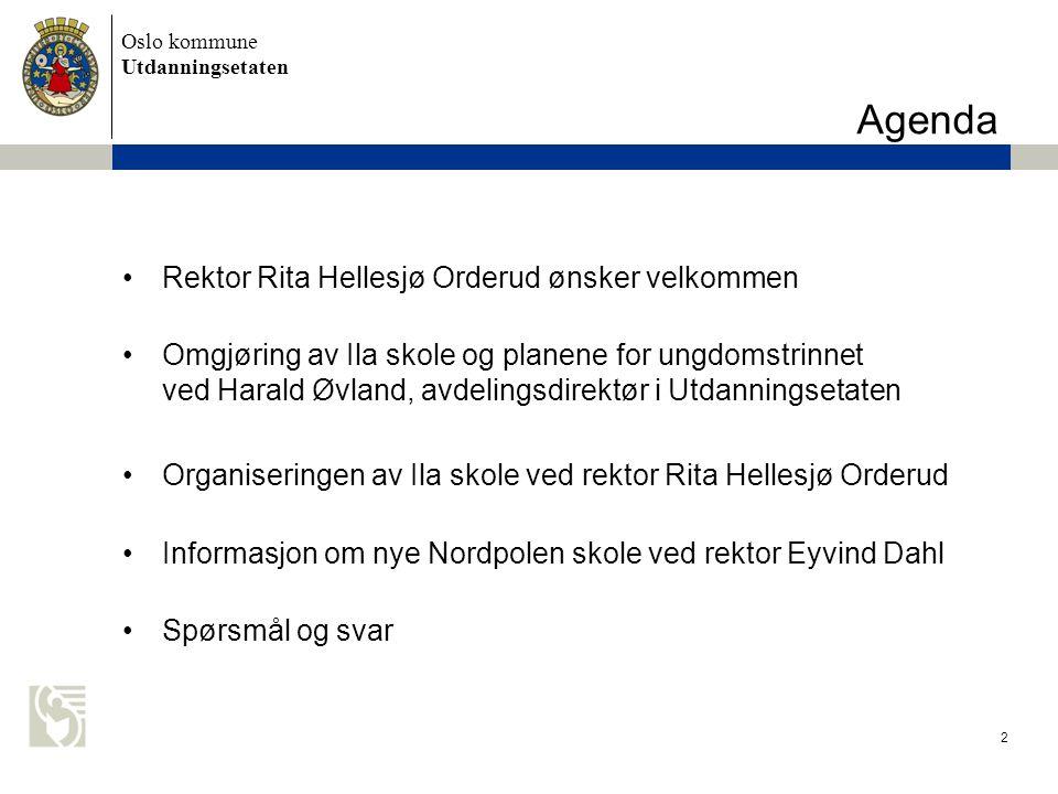 Oslo kommune Utdanningsetaten Agenda Rektor Rita Hellesjø Orderud ønsker velkommen Omgjøring av Ila skole og planene for ungdomstrinnet ved Harald Øvl