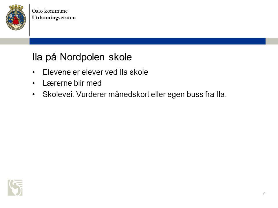 Oslo kommune Utdanningsetaten Ila på Nordpolen skole Elevene er elever ved Ila skole Lærerne blir med Skolevei: Vurderer månedskort eller egen buss fr