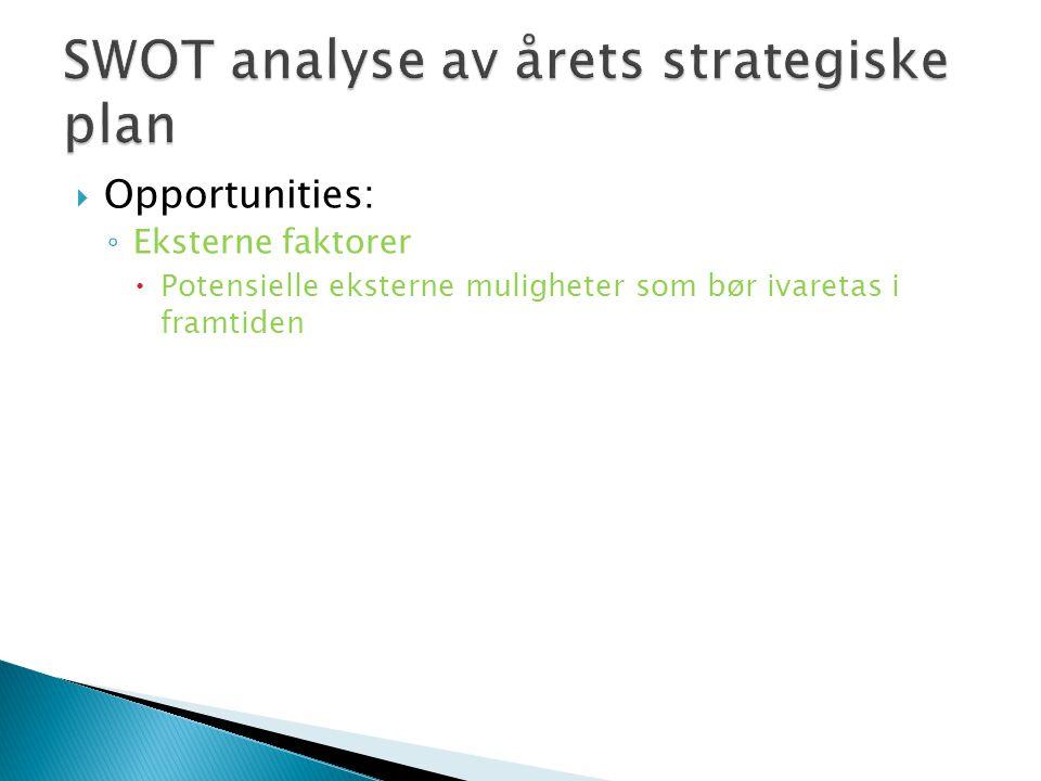  Opportunities: ◦ Eksterne faktorer  Potensielle eksterne muligheter som bør ivaretas i framtiden
