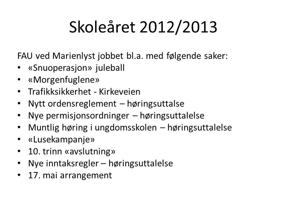 Skoleåret 2012/2013 FAU ved Marienlyst jobbet bl.a. med følgende saker: «Snuoperasjon» juleball «Morgenfuglene» Trafikksikkerhet - Kirkeveien Nytt ord