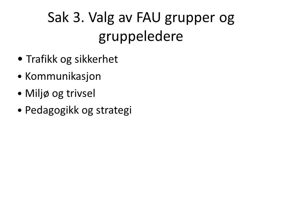 Sak 3. Valg av FAU grupper og gruppeledere Trafikk og sikkerhet Kommunikasjon Miljø og trivsel Pedagogikk og strategi