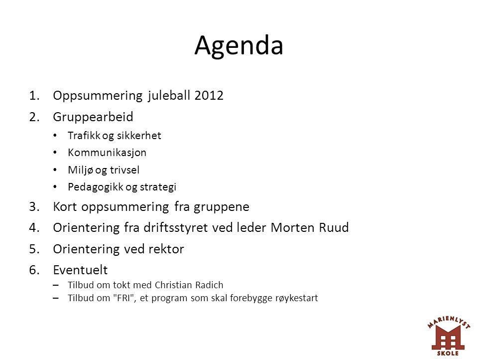 Agenda 1.Oppsummering juleball 2012 2.Gruppearbeid Trafikk og sikkerhet Kommunikasjon Miljø og trivsel Pedagogikk og strategi 3.Kort oppsummering fra