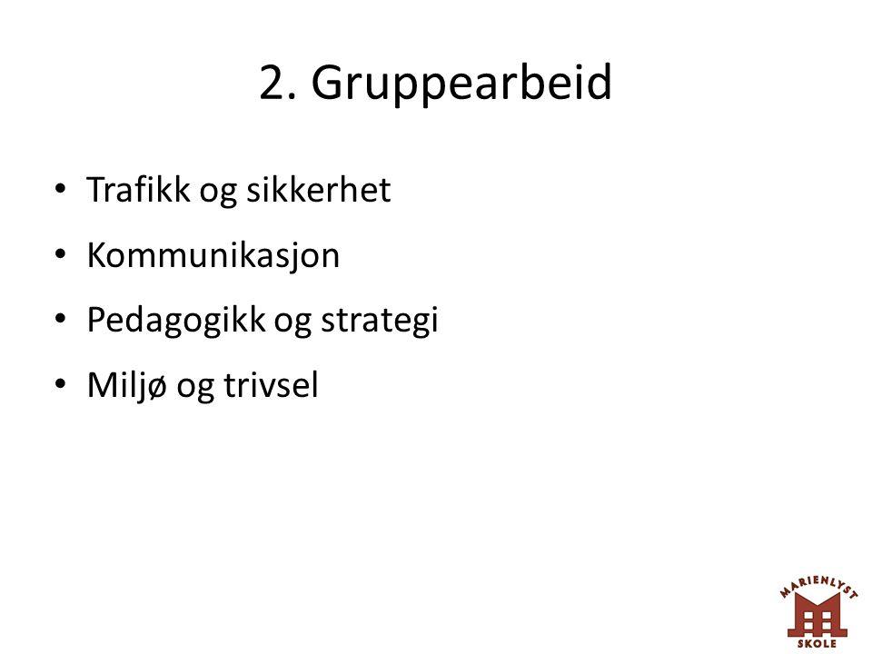 2. Gruppearbeid Trafikk og sikkerhet Kommunikasjon Pedagogikk og strategi Miljø og trivsel