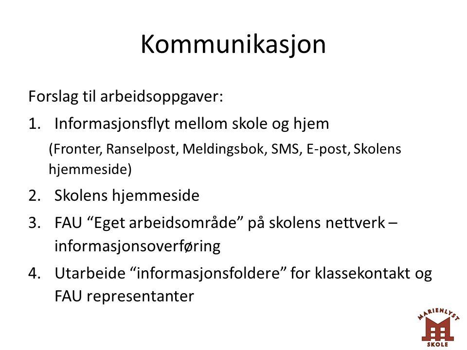Kommunikasjon Forslag til arbeidsoppgaver: 1.Informasjonsflyt mellom skole og hjem (Fronter, Ranselpost, Meldingsbok, SMS, E-post, Skolens hjemmeside)