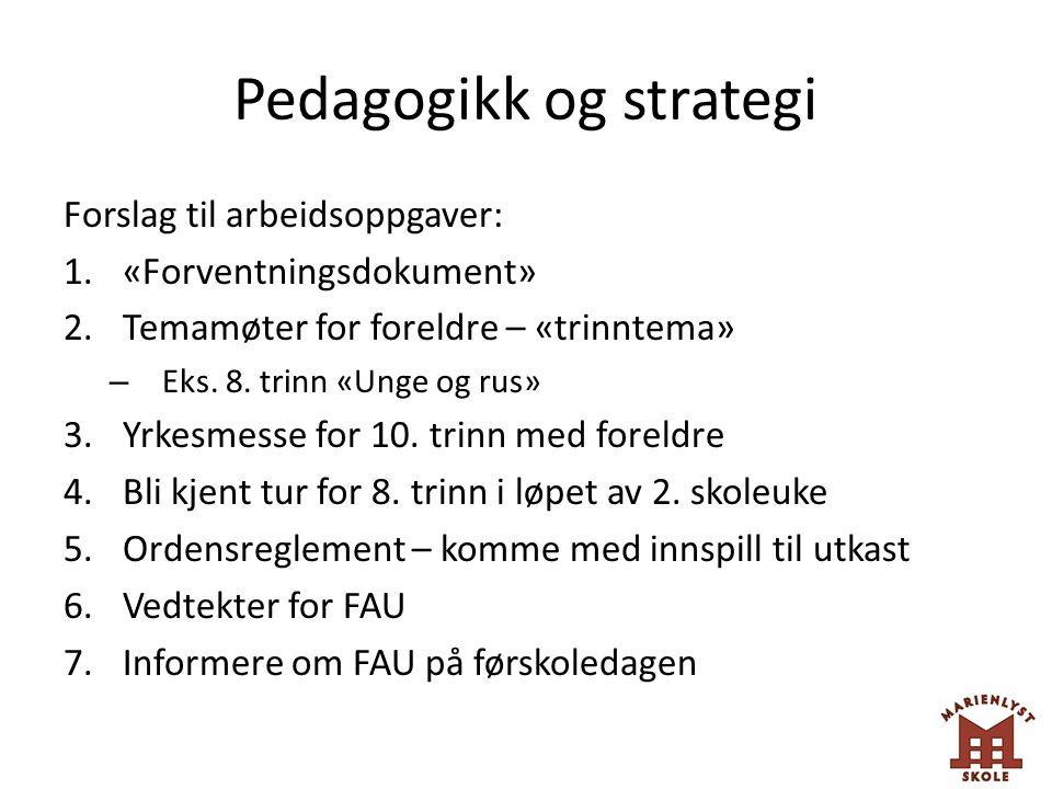 Pedagogikk og strategi Forslag til arbeidsoppgaver: 1.«Forventningsdokument» 2.Temamøter for foreldre – «trinntema» – Eks. 8. trinn «Unge og rus» 3.Yr