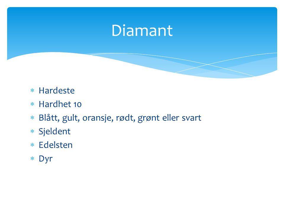  Hardeste  Hardhet 10  Blått, gult, oransje, rødt, grønt eller svart  Sjeldent  Edelsten  Dyr Diamant