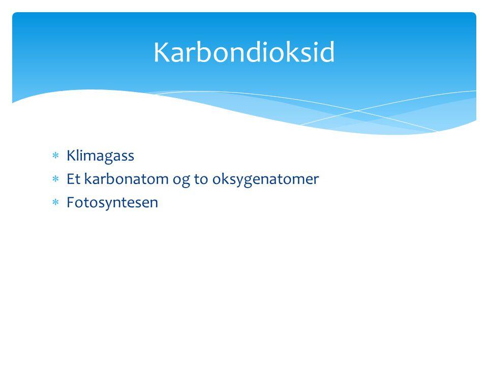  Klimagass  Et karbonatom og to oksygenatomer  Fotosyntesen Karbondioksid