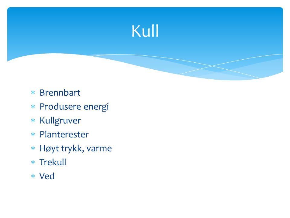  Brennbart  Produsere energi  Kullgruver  Planterester  Høyt trykk, varme  Trekull  Ved Kull