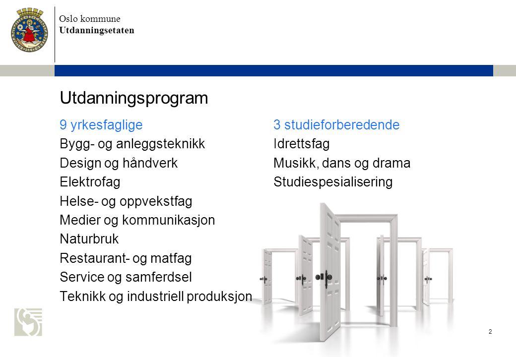 Oslo kommune Utdanningsetaten 3 Opplæringsrett for ungdom 3 års videregående opplæring Rett til å komme inn på ett av 3 utdanningsprogram Deretter rett til 2 år som bygger på Vg1 5 års frist til å fullføre Utvidet rett ved omvalg