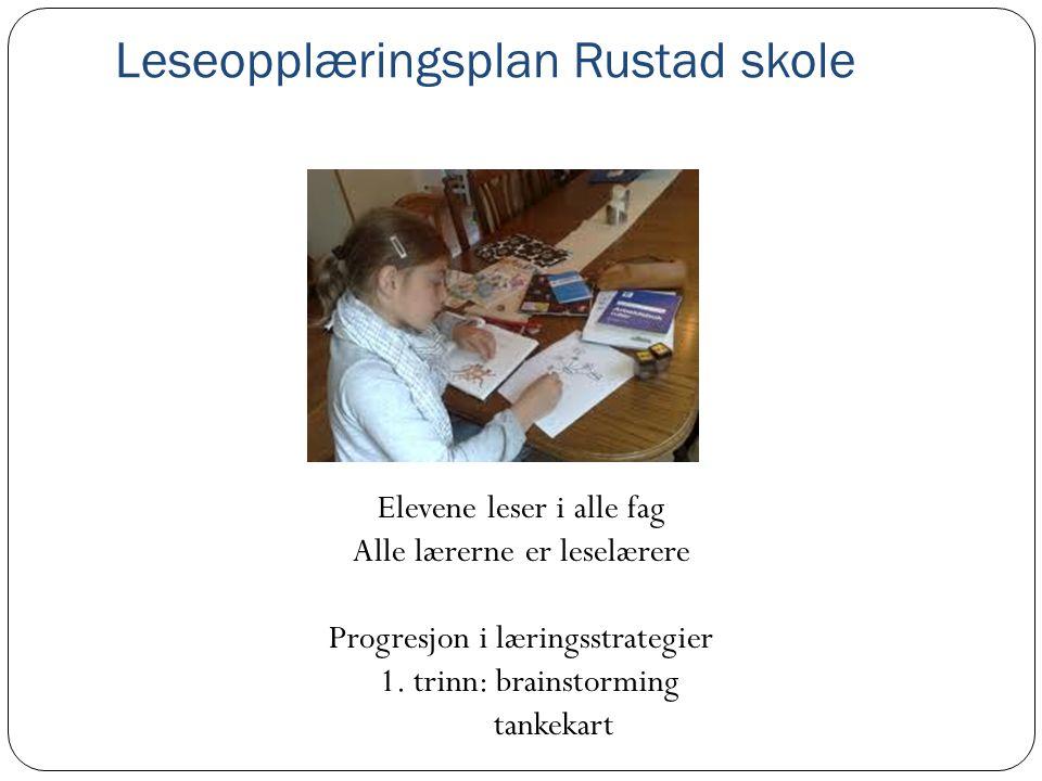 Leseopplæringsplan Rustad skole Elevene leser i alle fag Alle lærerne er leselærere Progresjon i læringsstrategier 1. trinn: brainstorming tankekart