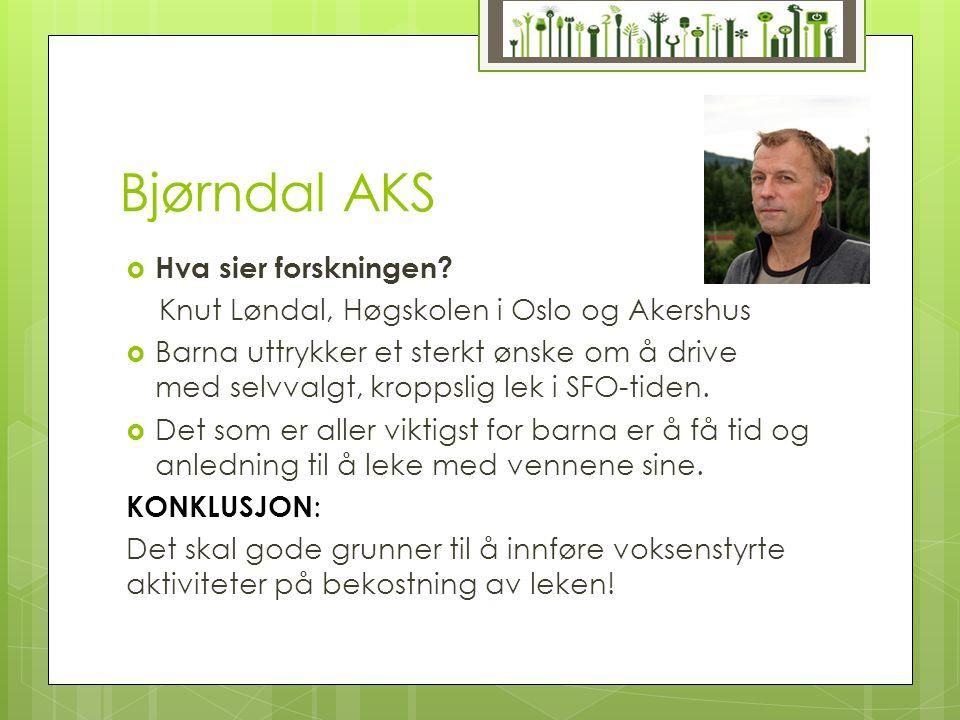 Bjørndal AKS  Hva sier forskningen? Knut Løndal, Høgskolen i Oslo og Akershus  Barna uttrykker et sterkt ønske om å drive med selvvalgt, kroppslig l