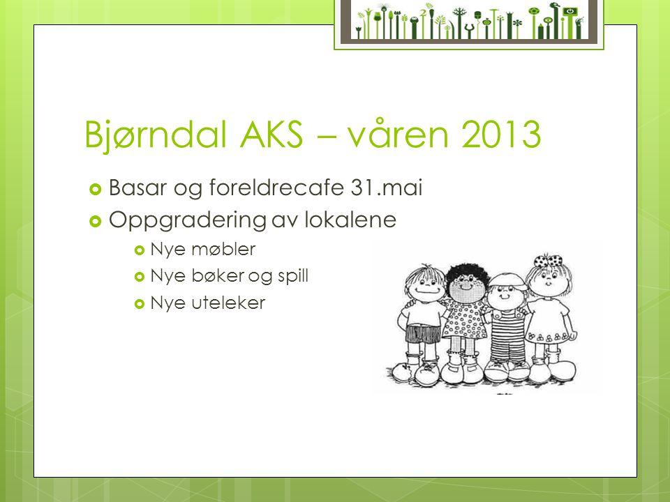 Bjørndal AKS – våren 2013  Basar og foreldrecafe 31.mai  Oppgradering av lokalene  Nye møbler  Nye bøker og spill  Nye uteleker