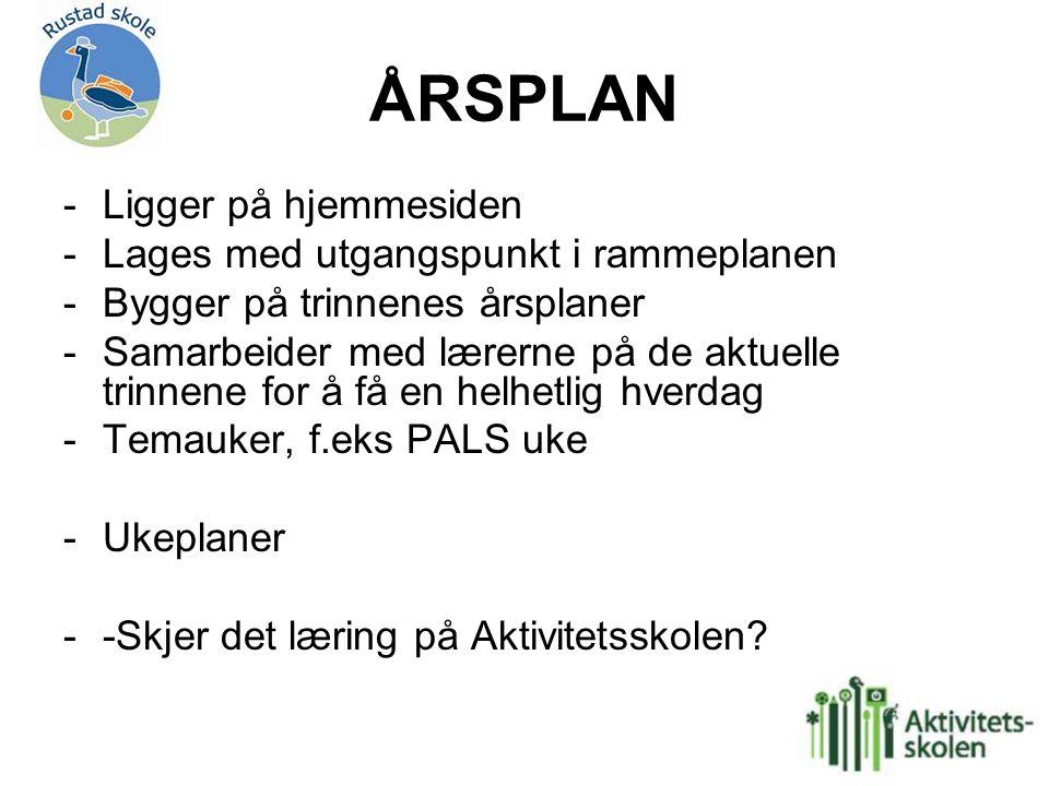 ÅRSPLAN -Ligger på hjemmesiden -Lages med utgangspunkt i rammeplanen -Bygger på trinnenes årsplaner -Samarbeider med lærerne på de aktuelle trinnene f