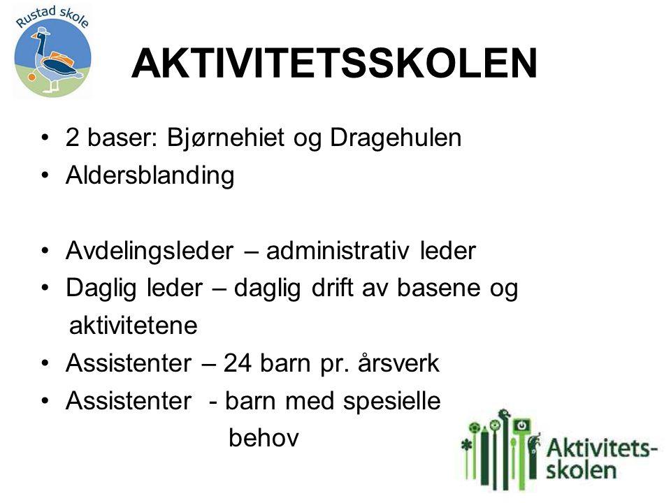 AKTIVITETSSKOLEN 2 baser: Bjørnehiet og Dragehulen Aldersblanding Avdelingsleder – administrativ leder Daglig leder – daglig drift av basene og aktivi