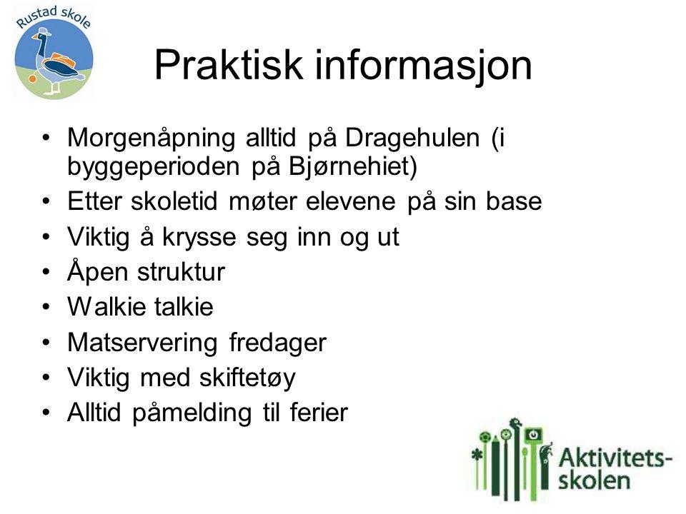 Praktisk informasjon Morgenåpning alltid på Dragehulen (i byggeperioden på Bjørnehiet) Etter skoletid møter elevene på sin base Viktig å krysse seg in