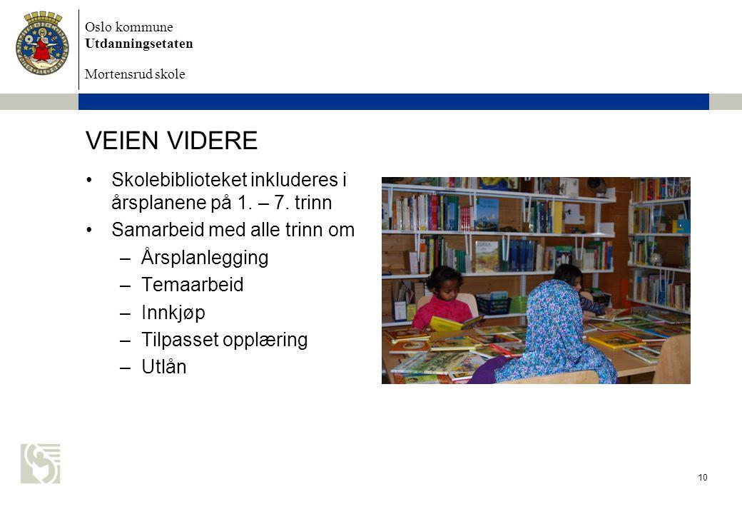 Oslo kommune Utdanningsetaten Mortensrud skole VEIEN VIDERE Skolebiblioteket inkluderes i årsplanene på 1. – 7. trinn Samarbeid med alle trinn om –Års