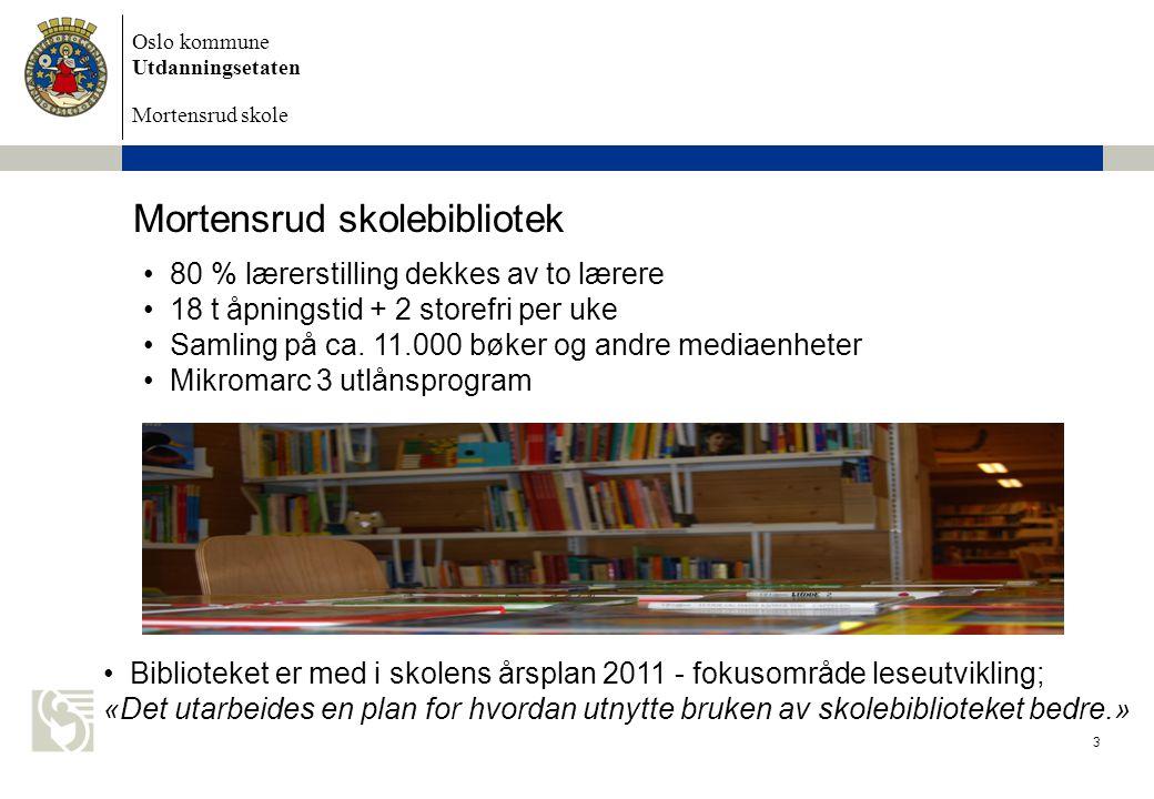 Oslo kommune Utdanningsetaten Mortensrud skole Mortensrud skolebibliotek 80 % lærerstilling dekkes av to lærere 18 t åpningstid + 2 storefri per uke S