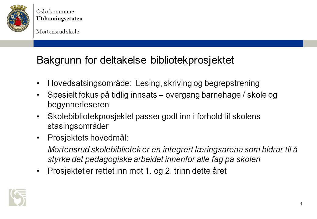 Oslo kommune Utdanningsetaten Mortensrud skole Bakgrunn for deltakelse bibliotekprosjektet Hovedsatsingsområde: Lesing, skriving og begrepstrening Spe