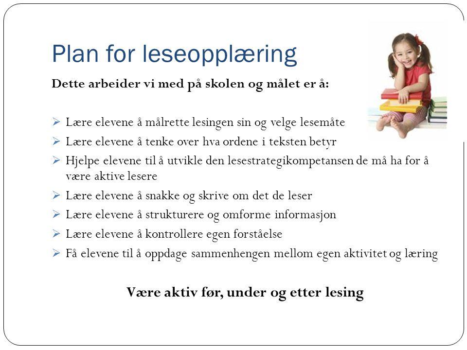 Plan for leseopplæring Dette arbeider vi med på skolen og målet er å:  Lære elevene å målrette lesingen sin og velge lesemåte  Lære elevene å tenke