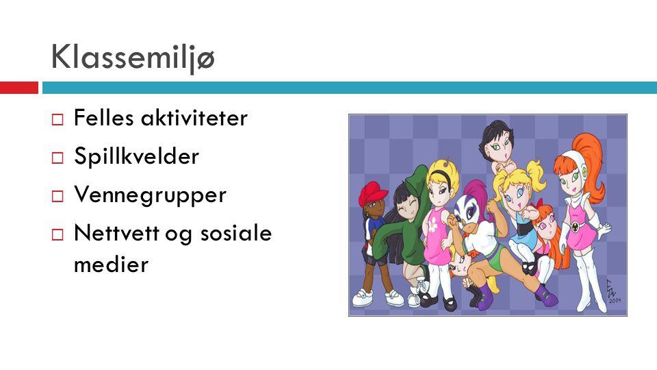 Klassemiljø  Felles aktiviteter  Spillkvelder  Vennegrupper  Nettvett og sosiale medier