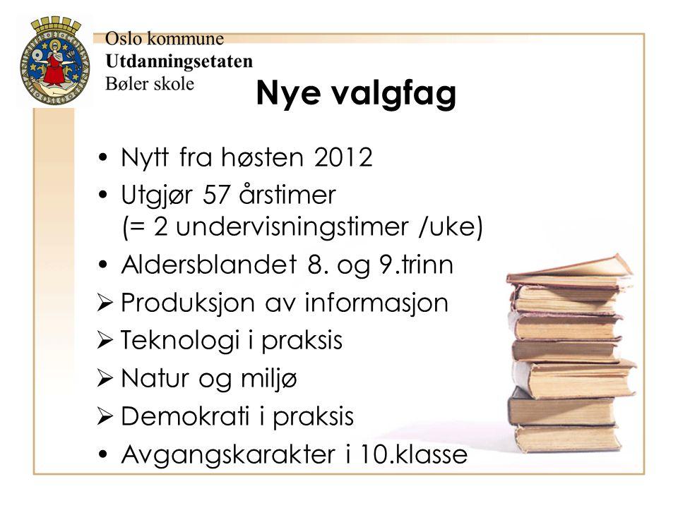 Nye valgfag Nytt fra høsten 2012 Utgjør 57 årstimer (= 2 undervisningstimer /uke) Aldersblandet 8. og 9.trinn  Produksjon av informasjon  Teknologi