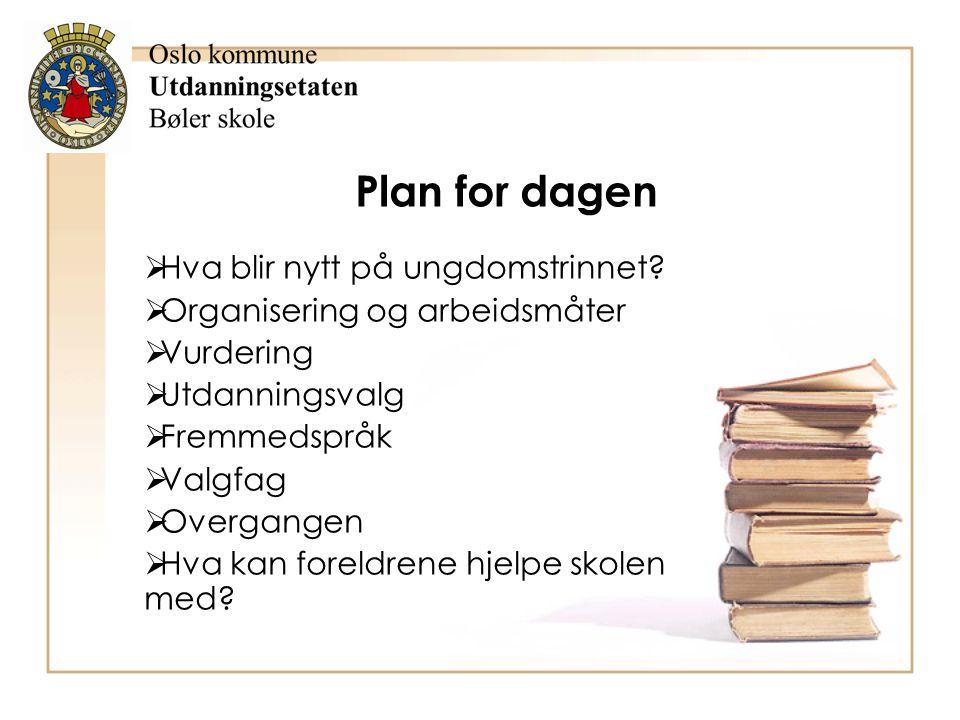 Plan for dagen  Hva blir nytt på ungdomstrinnet?  Organisering og arbeidsmåter  Vurdering  Utdanningsvalg  Fremmedspråk  Valgfag  Overgangen 