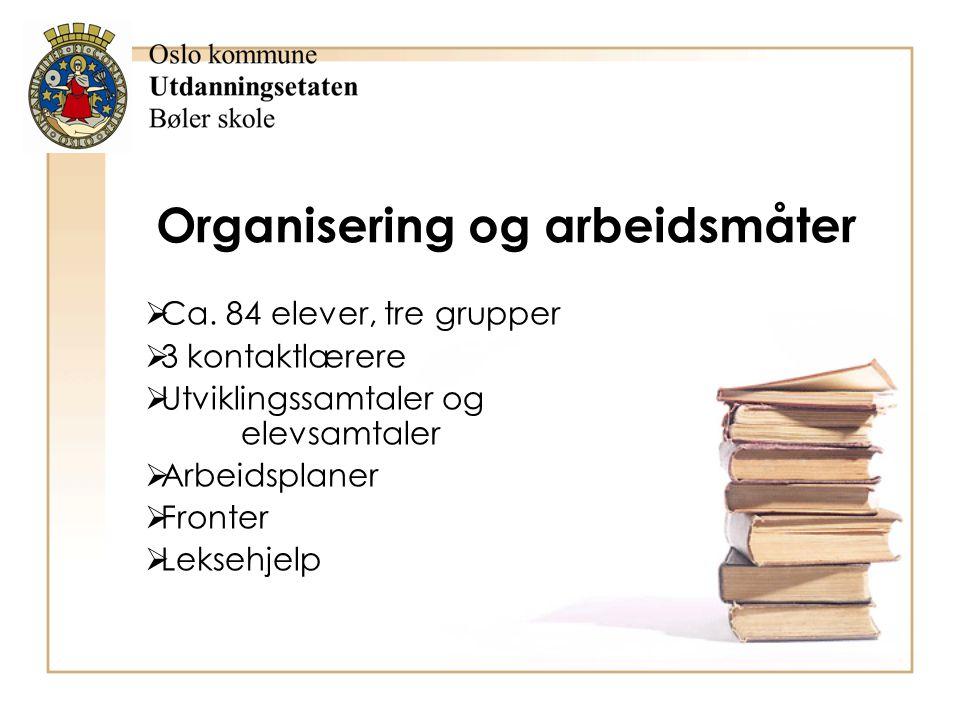 Organisering og arbeidsmåter  Ca. 84 elever, tre grupper  3 kontaktlærere  Utviklingssamtaler og elevsamtaler  Arbeidsplaner  Fronter  Leksehjel