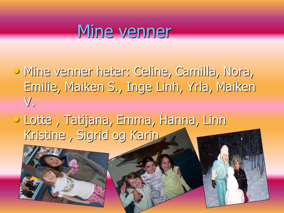 Mine venner Mine venner heter: Celine, Camilla, Nora, Emilie, Maiken S., Inge Linh, Yrla, Maiken V. Mine venner heter: Celine, Camilla, Nora, Emilie,