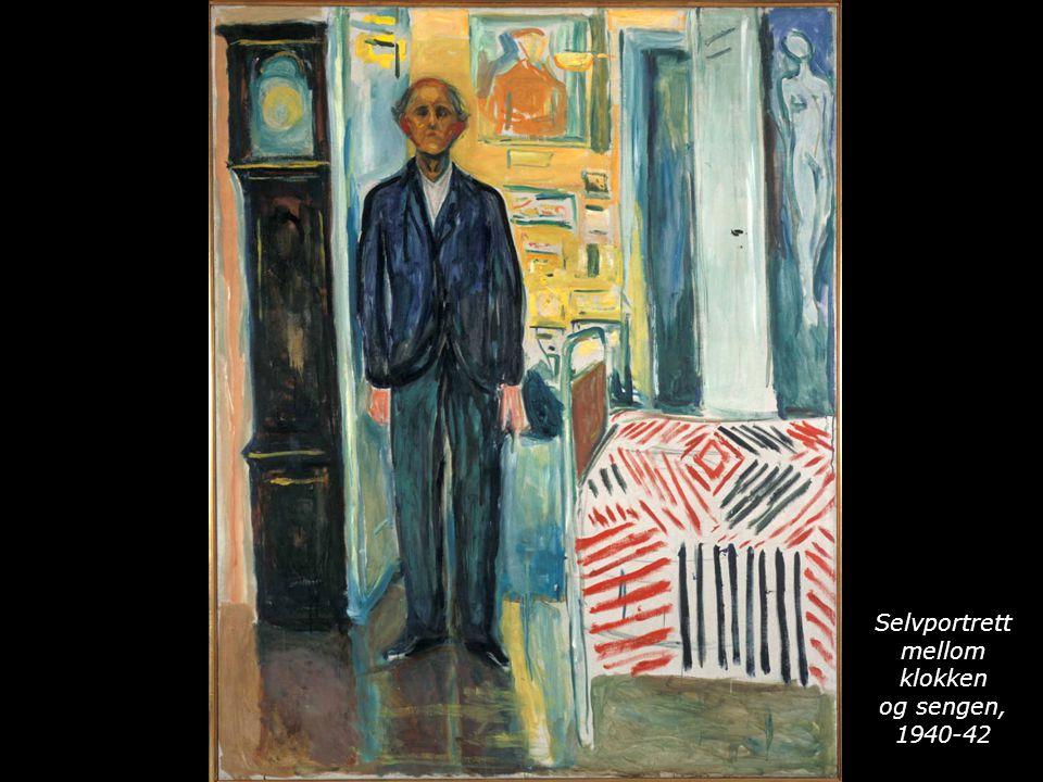 Selvportrett mellom klokken og sengen, 1940-42