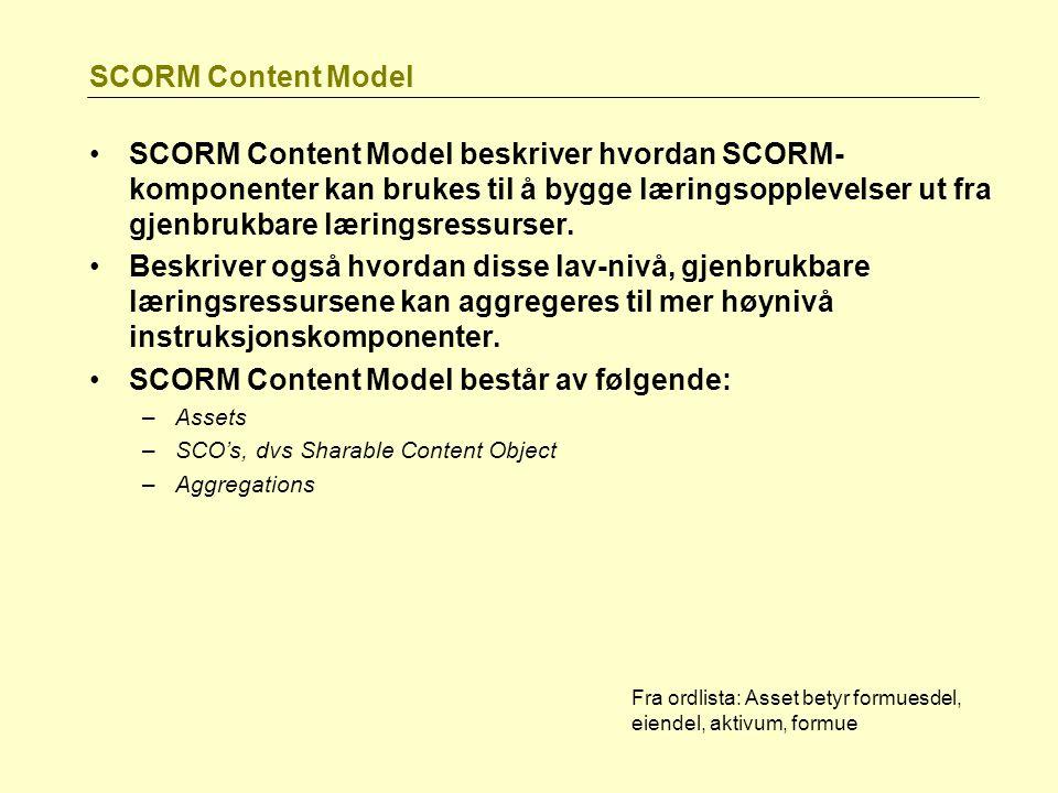 SCORM Content Model SCORM Content Model beskriver hvordan SCORM- komponenter kan brukes til å bygge læringsopplevelser ut fra gjenbrukbare læringsress