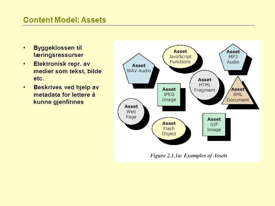 Content Model: Assets Byggeklossen til læringsressurser Elektronisk repr. av medier som tekst, bilde etc. Beskrives ved hjelp av metadata for lettere