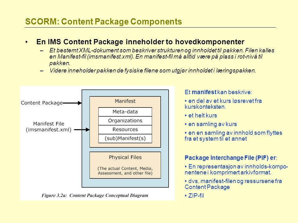 SCORM: Content Package Components En IMS Content Package inneholder to hovedkomponenter –Et bestemt XML-dokument som beskriver strukturen og innholdet