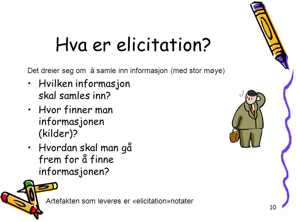 10 Hva er elicitation? Hvilken informasjon skal samles inn? Hvor finner man informasjonen (kilder)? Hvordan skal man gå frem for å finne informasjonen