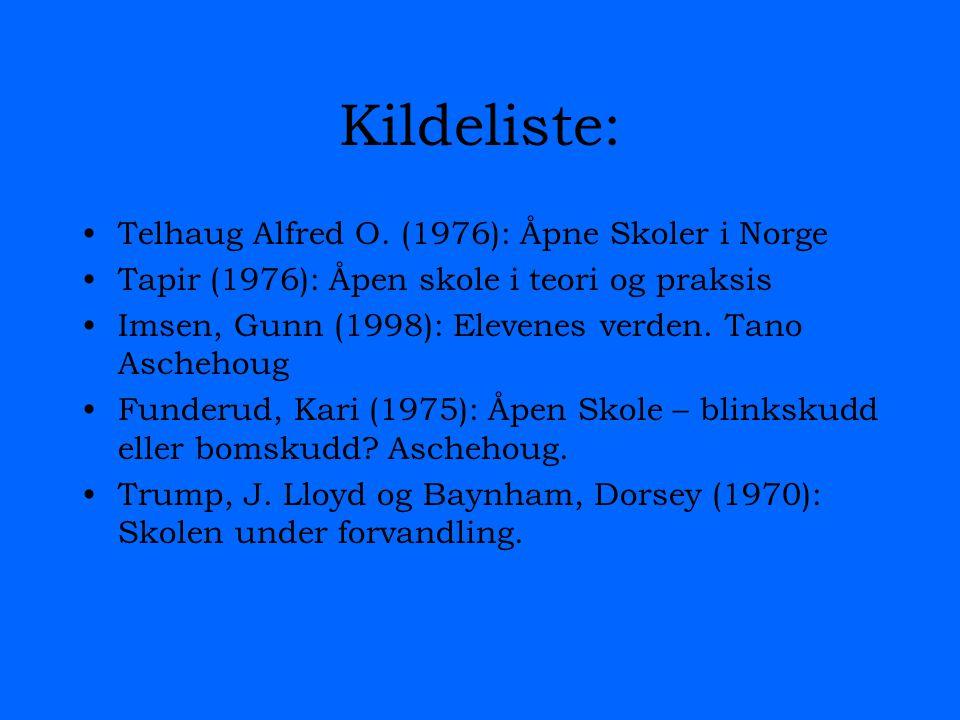 Kildeliste: Telhaug Alfred O.