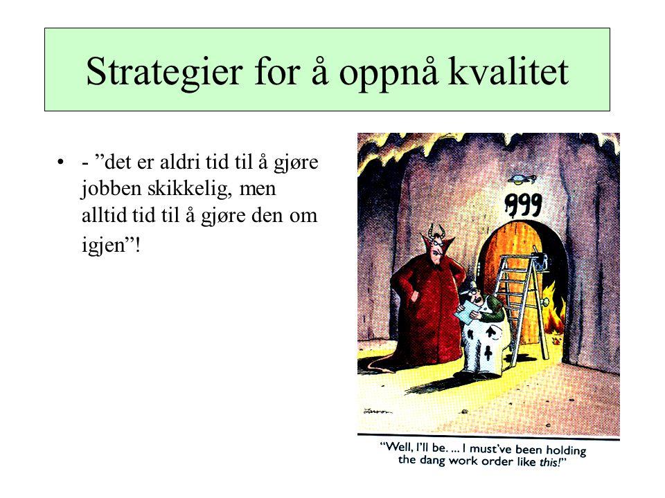 """Strategier for å oppnå kvalitet - """"det er aldri tid til å gjøre jobben skikkelig, men alltid tid til å gjøre den om igjen""""!"""