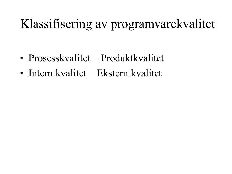 Klassifisering av programvarekvalitet Prosesskvalitet – Produktkvalitet Intern kvalitet – Ekstern kvalitet