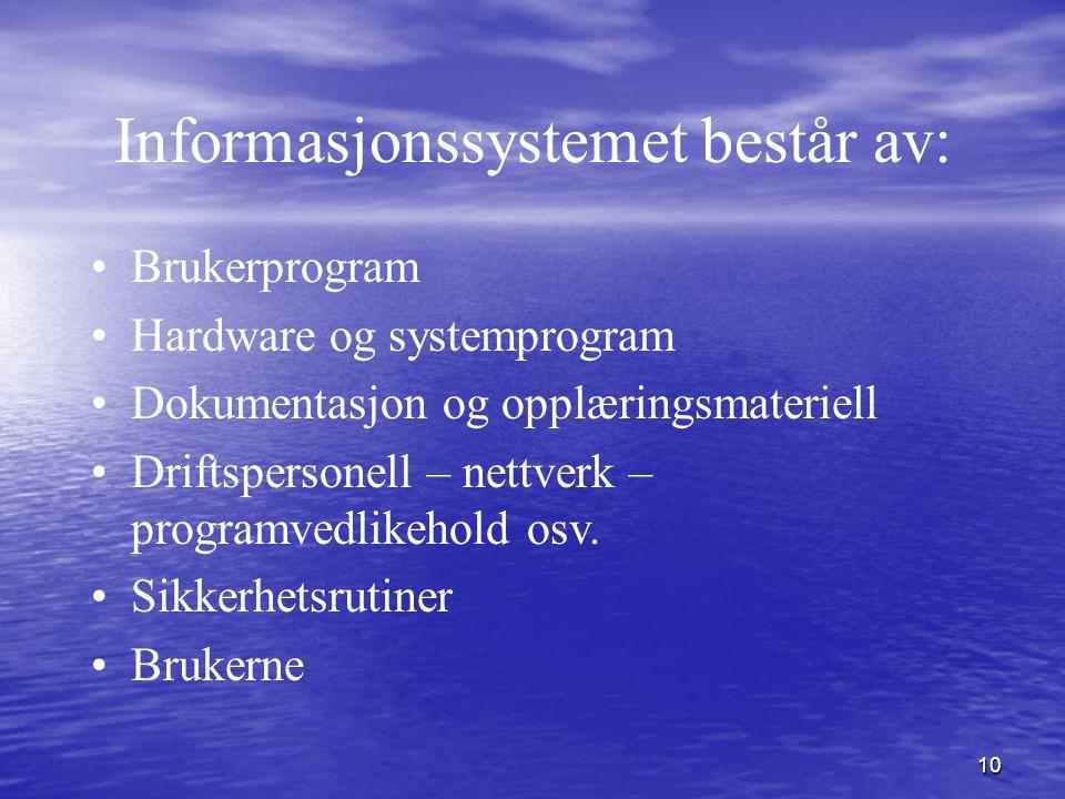 10 Informasjonssystemet består av: Brukerprogram Hardware og systemprogram Dokumentasjon og opplæringsmateriell Driftspersonell – nettverk – programve
