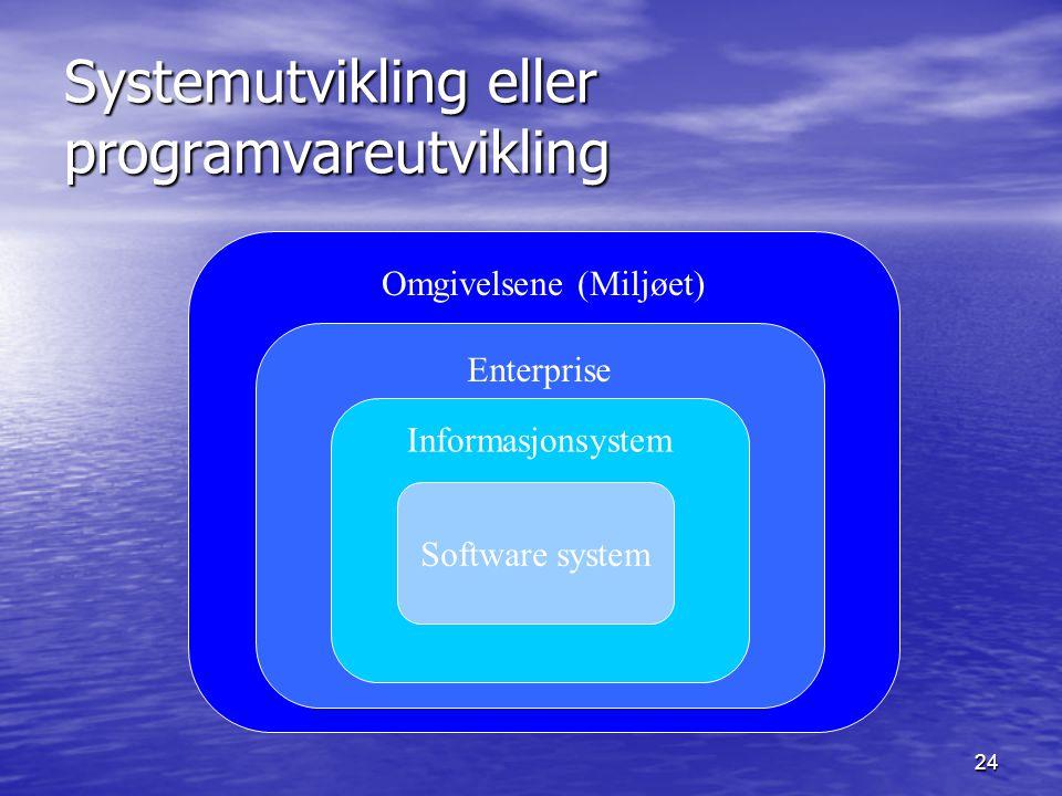 24 Omgivelsene (Miljøet) Systemutvikling eller programvareutvikling Enterprise Informasjonsystem Software system